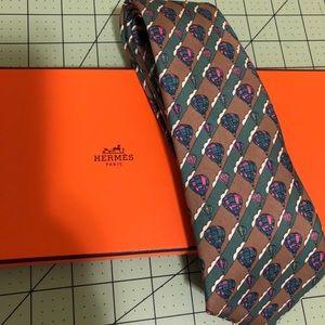 Hermès Designer silk hot air balloon tie with box